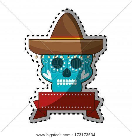 sticker decorative ornamental sugar skull with ribbon an mexican hat vector illustration