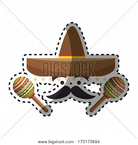 sticker colorful cartoon face with maraca and mexican hat vector illustration