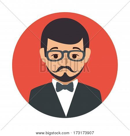 red sphere of half body man formal style with mustache vector illustration