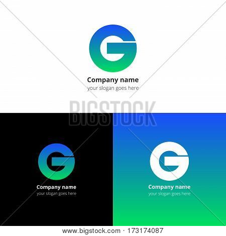 Letter G logo icon flat and vector design template. Trend green-blue gradient color on white and black background. Bold symbol G.