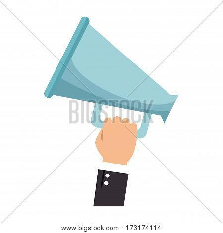 people hand holding megaphone icon vector illustration