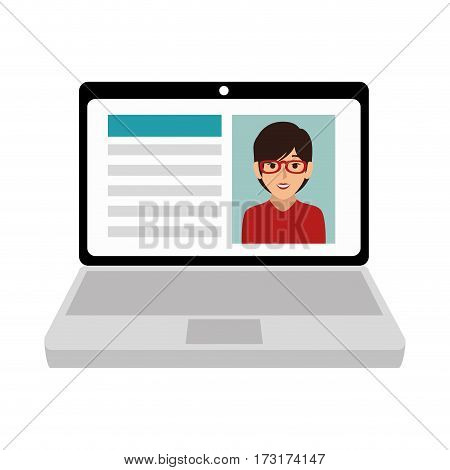 tech laptop with curriculum vitae vector illustration