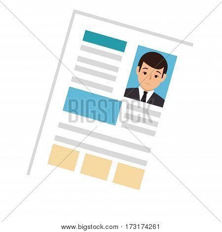 side view file info with curriculum vitae sheet vector illustration