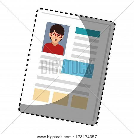sticker woman file info with curriculum vitae sheet vector illustration