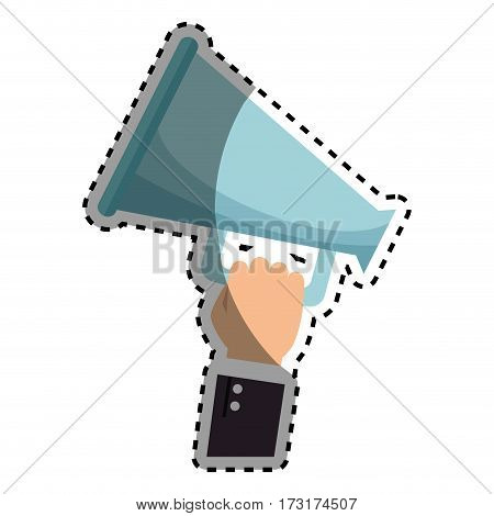 sticker shading people hand holding megaphone icon vector illustration