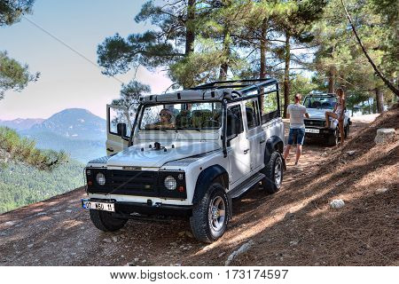 Kemer Antalya Turkey - august 26 2014: Excursion trip in the all-wheel drive vehicles on mountain roads.
