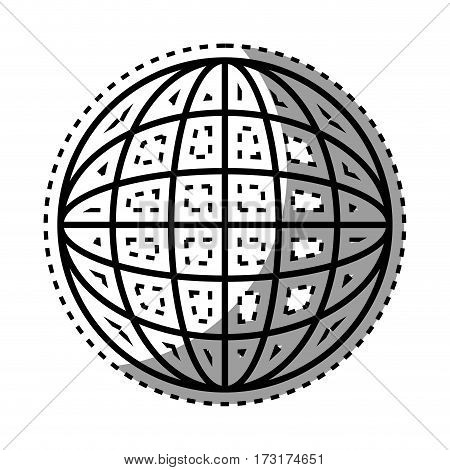 sticker shading silhouette sphere with lines cartographic vector illustration