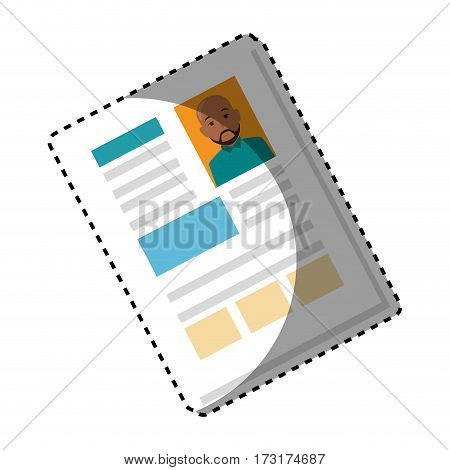 sticker shading file info with curriculum vitae sheet vector illustration