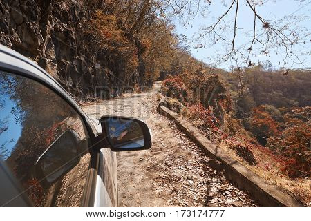 Car Moving In Canyon