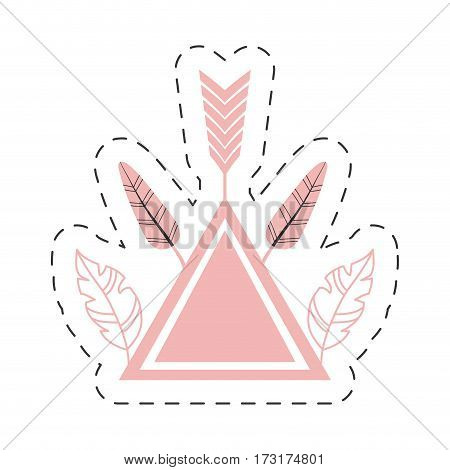 pink triangle feathers decoration thin line vector illustration eps 10
