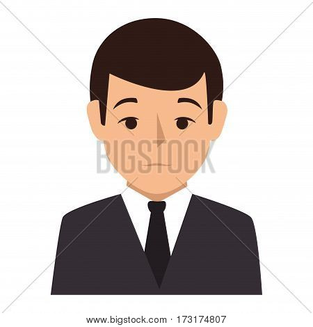 colorful silhouette half body man formal style vector illustration