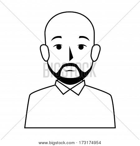 silhouette half body bald man with beard vector illustration