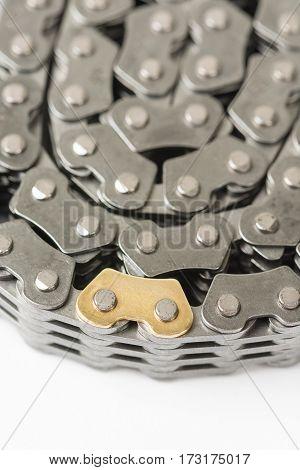 Closeup Macro Car Engine Timing Chain