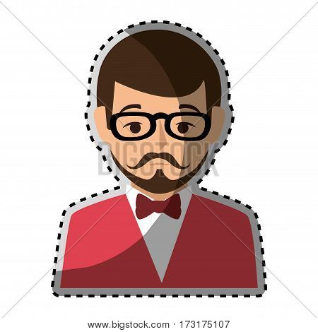 sticker colorful half body man formal style with mustache vector illustration