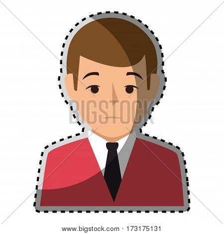 sticker colorful half body man formal style vector illustration