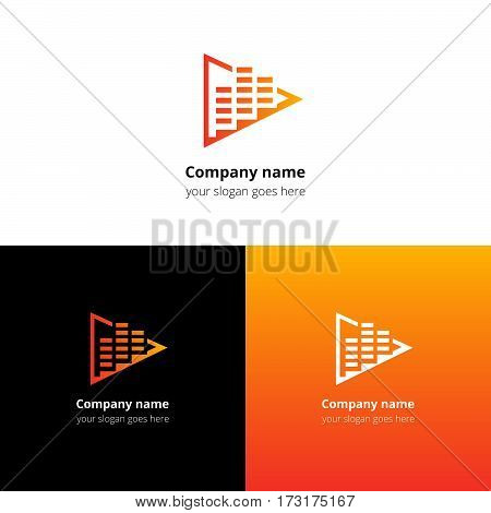 Play music sound and equalizer beat flat logo icon vector template. Abstract symbol and button with yellow-orange gradient for music service or company.