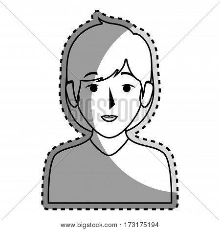 sticker silhouette half body woman with short hair vector illustration