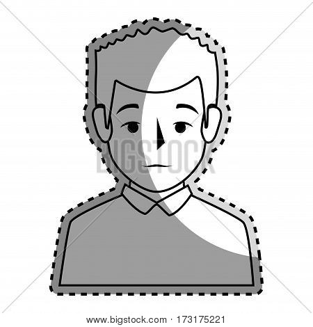sticker silhouette half body man with t-shirt vector illustration