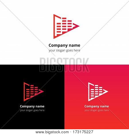 Play music sound and equalizer beat flat logo icon vector template. Abstract symbol and button with red-pink gradient for music service or company.