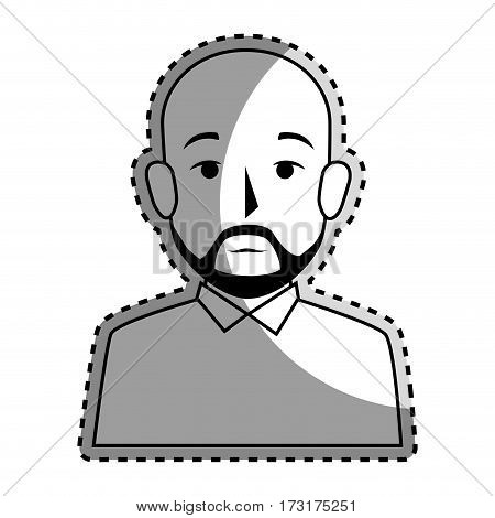sticker silhouette half body bald man with beard vector illustration