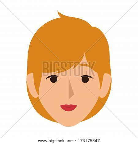 colorful silhouette front view woman with short blond hair vector illustration