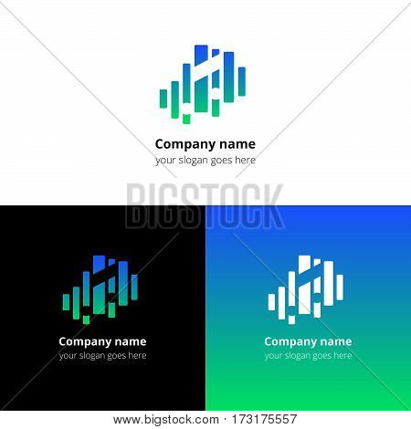 Music note and equalizer beat background flat logo icon vector template. Abstract symbol and button with blue-green gradient for music service or company.