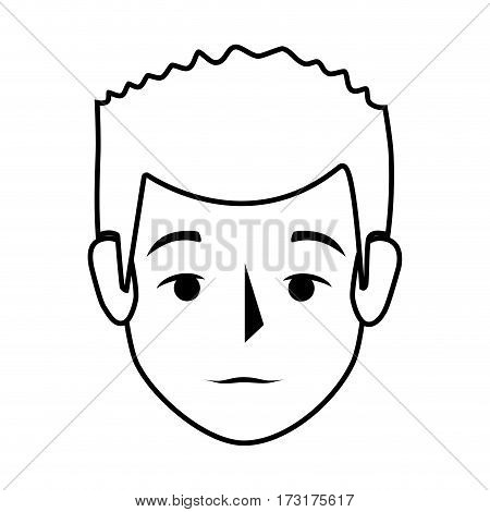 silhouette front view man with serius gesture vector illustration