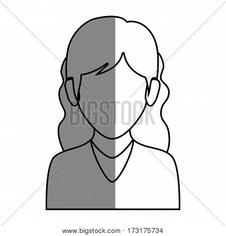 silhouette faceless half body woman with wavy hair vector illustration