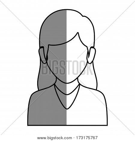 silhouette faceless half body woman with long hair vector illustration