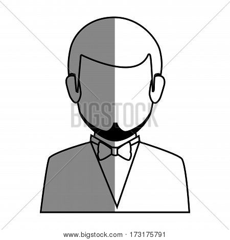 silhouette faceless half body man formal style with bowtie vector illustration