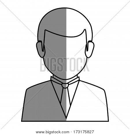 silhouette faceless half body man formal style vector illustration