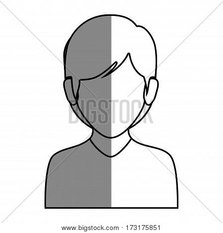 silhouette faceless half body woman with short hair vector illustration