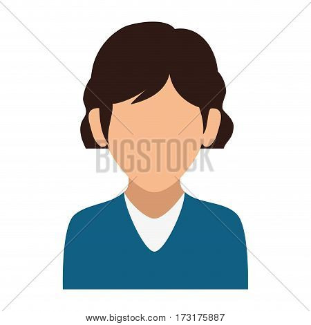 colorful silhouette faceless half body woman with blue t-shirt vector illustration