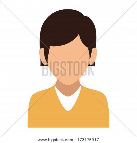 colorful silhouette faceless half body woman with straight short hair vector illustration
