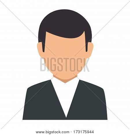 colorful silhouette faceless half body man formal outfit vector illustration