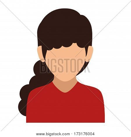 colorful silhouette faceless half body woman with long wavy hair vector illustration