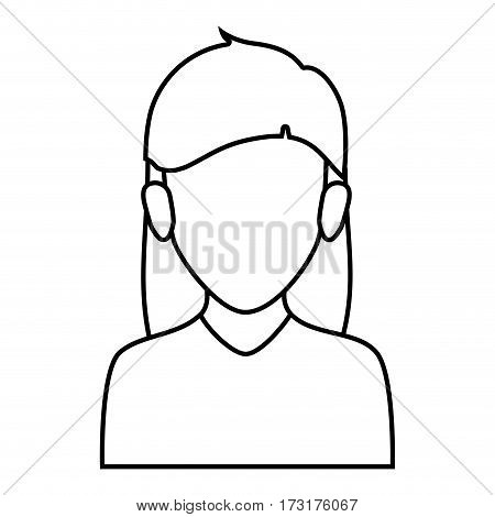 silhouette faceless half body woman with long hairstyle vector illustration
