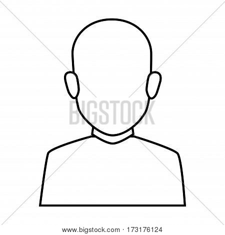 silhouette faceless half body brunette bald man vector illustration