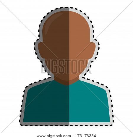 sticker colorful silhouette faceless half body brunette bald man vector illustration