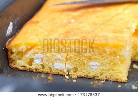Cornbread With Cheese Baked In Oven