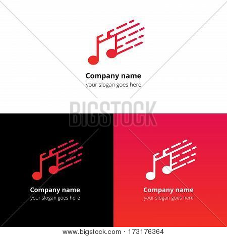 Music note and fast motion beat flat logo icon vector template. Abstract symbol and button with red-pink gradient for music service or company.
