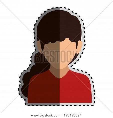 sticker colorful silhouette faceless half body woman with long wavy hair vector illustration
