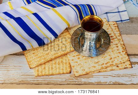 Stilllife With Wine And Matzoh Jewish Passover Bread