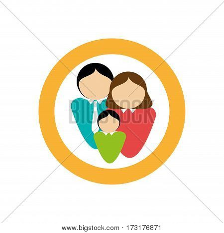 color circular frame with family in half body faceless vector illustration