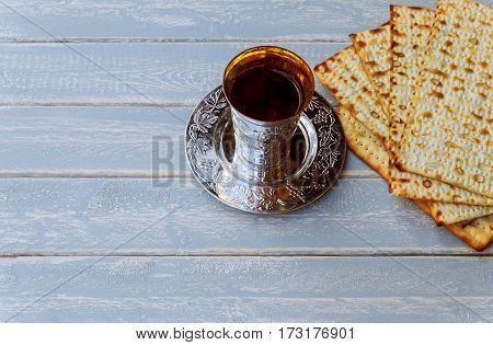 Red Kosher Wine With Matzah Or Matza And A Passover Haggadah