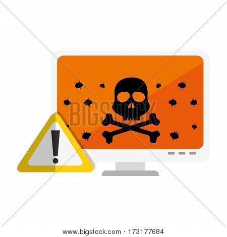 color silhouette of lcd monitor with virus on screen vector illustration