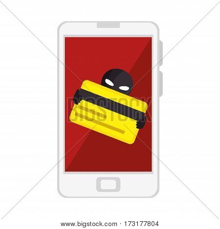 color silhouette with stealing credit card in cell phone vector illustration