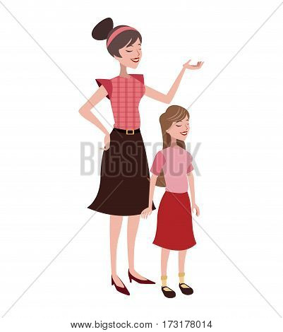 mother and daugther lovely vector illustration eps 10