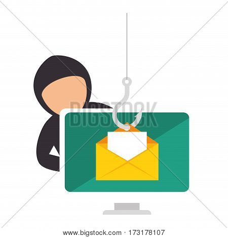 color silhouette with hacker stealing mail information vector illustration
