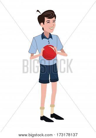 boy red ball family member vector illustration eps 10